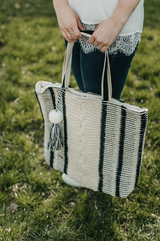 Cable Striped Tote