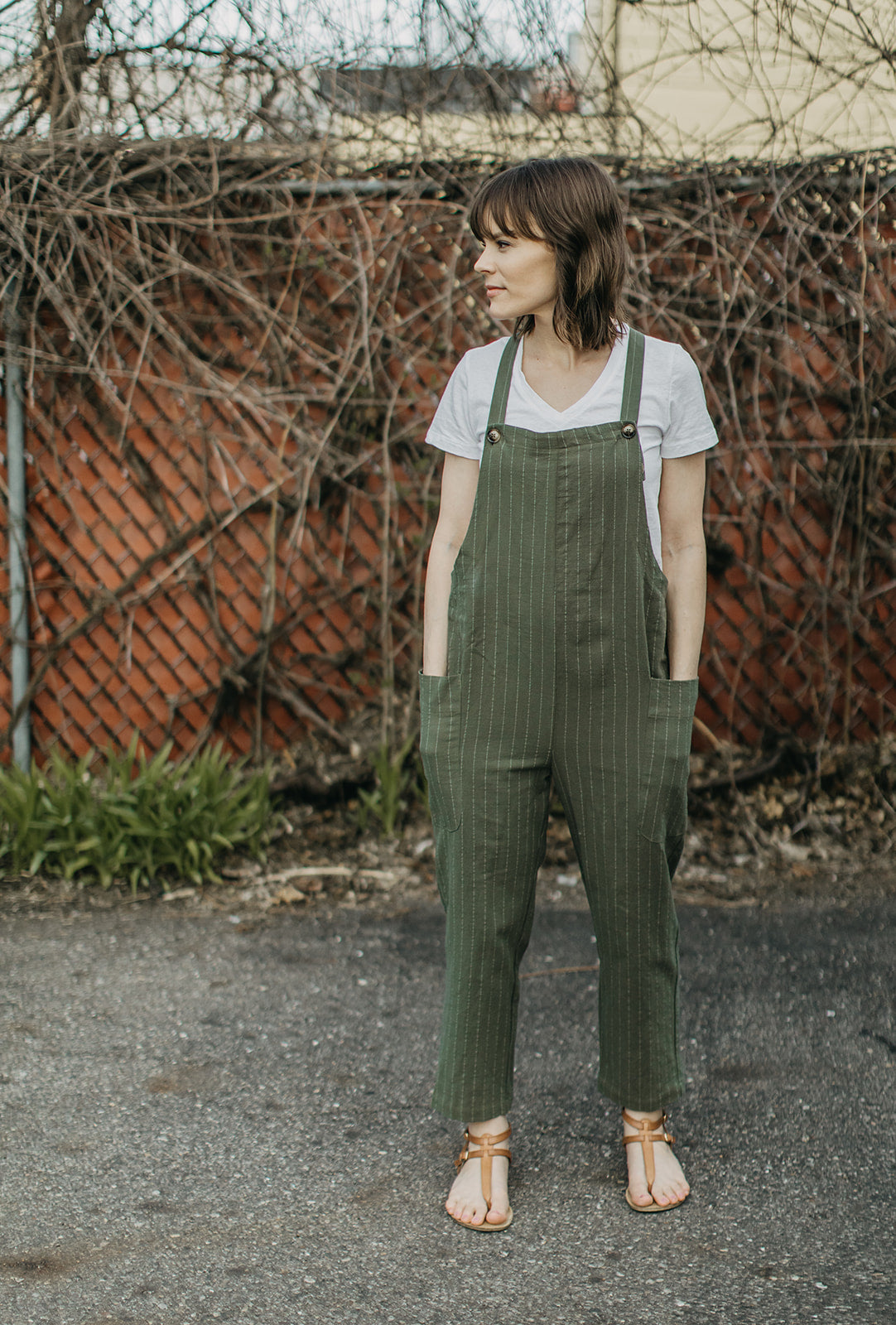 Striped Pocket Overalls