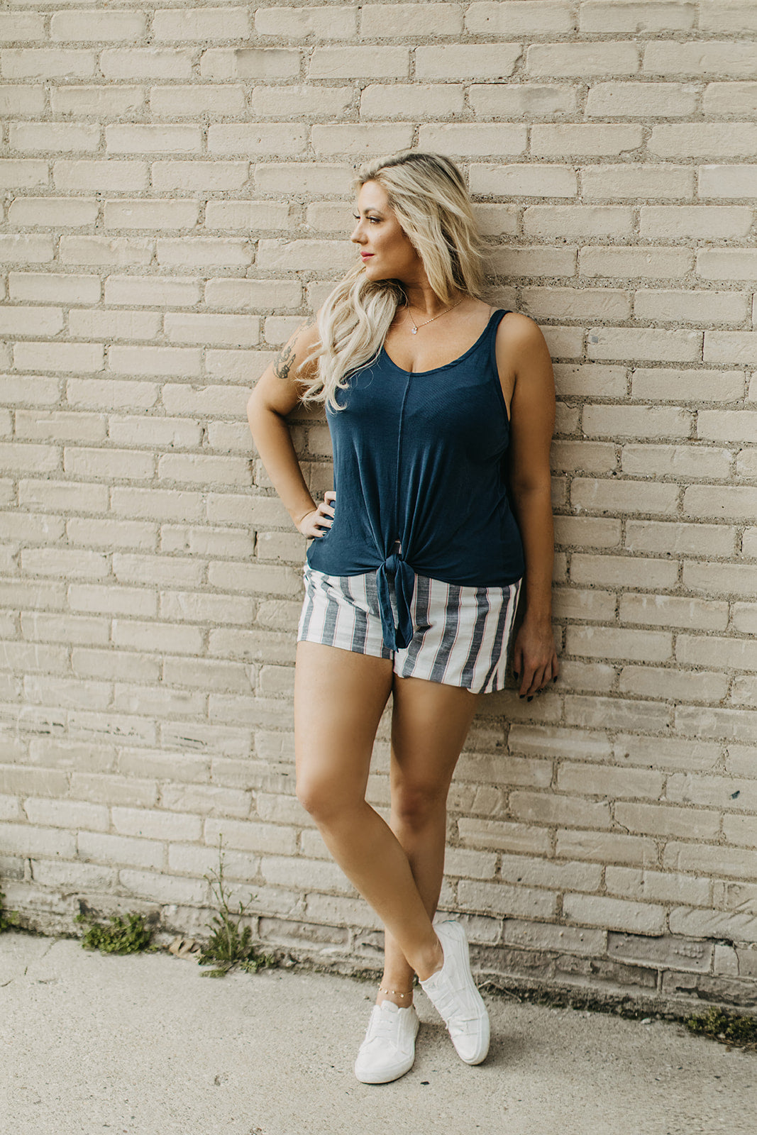 Striped Buckle Shorts