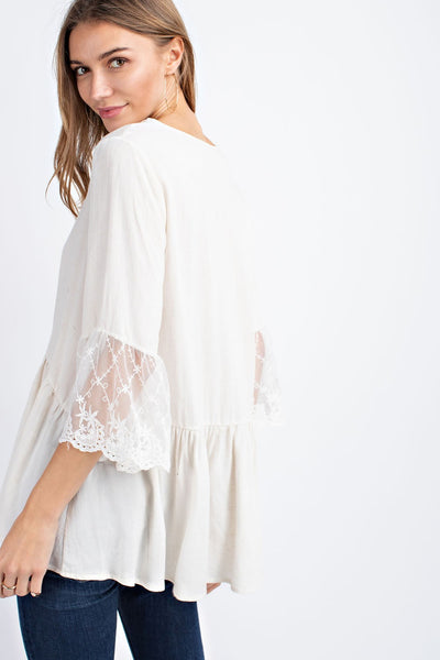 Oatmeal Lace Sleeve Top