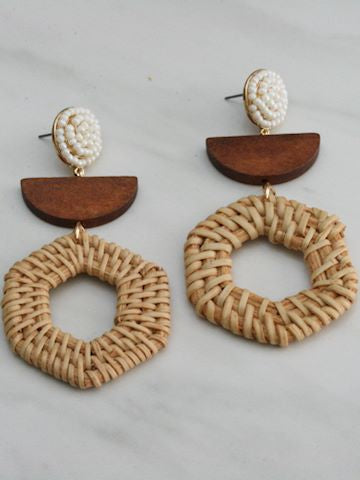 Wood Rattan Dangle