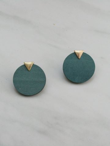 Wood Triangle Disk Earrings