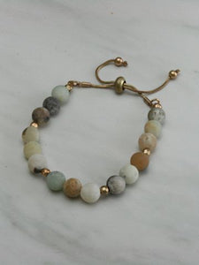 Frosted Amazonite Adjustable Bracelet