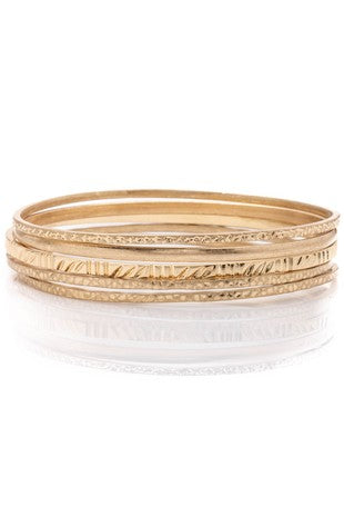Layering Textured Bangle Bracelets
