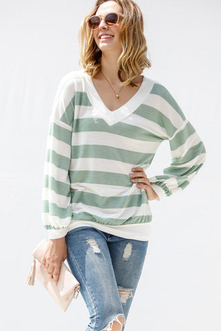 Green & White Striped Top