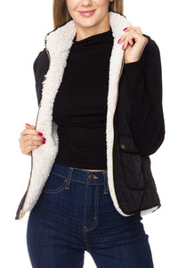 Reversible Quilted-Sherpa Combo Vest