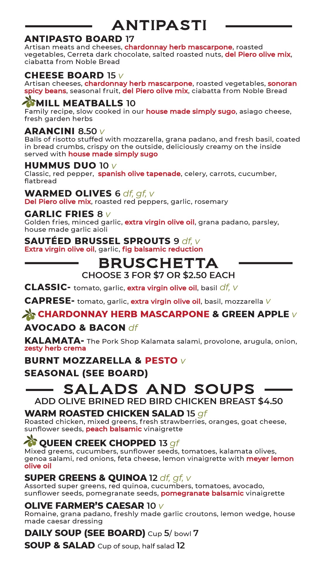 del Piero Kitchen Lunch and Dinner Menu Page 1