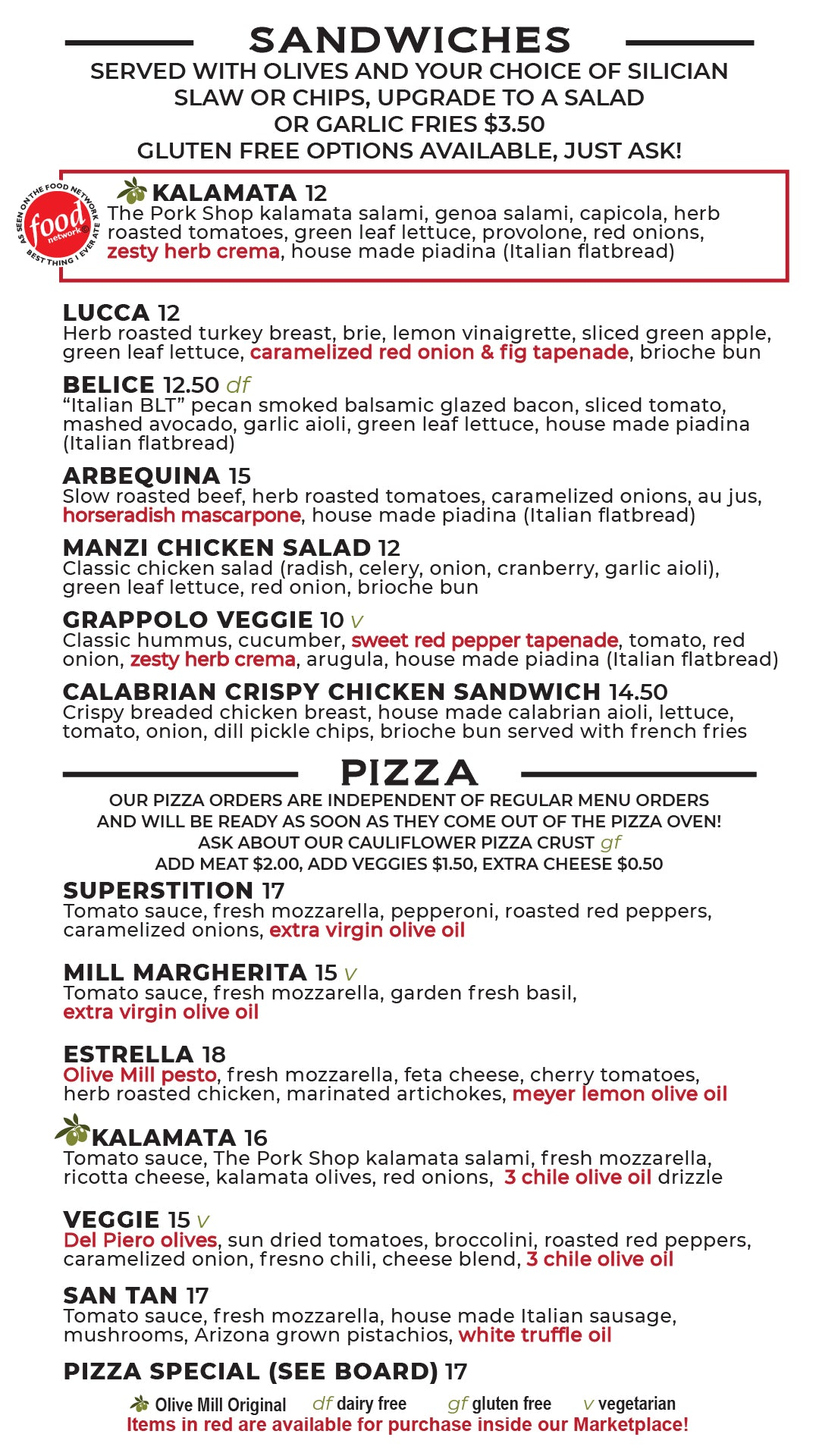 del Piero Kitchen Lunch and Dinner Menu Page 2