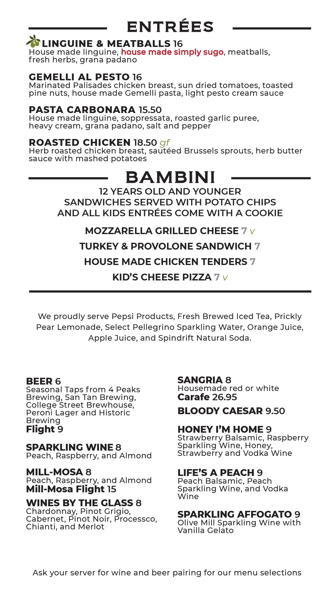 del Piero Kitchen Lunch and Dinner Menu Page 3