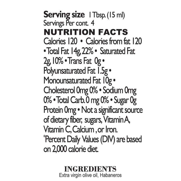 Nutrition Facts 27 Habaneros Olive Oil