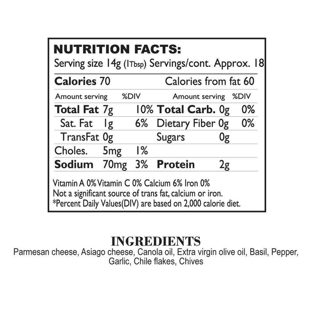Nutrition Facts Asiago Parmesan Tapenade