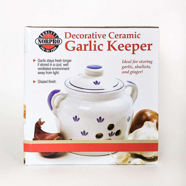 Blue and White Ceramic Garlic Keeper