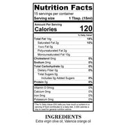 Nutrition Facts Valencia Orange Olive Oil
