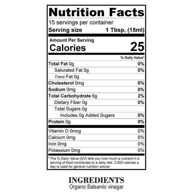 Nutrition Facts Organic Aged Balsamic Vinegar
