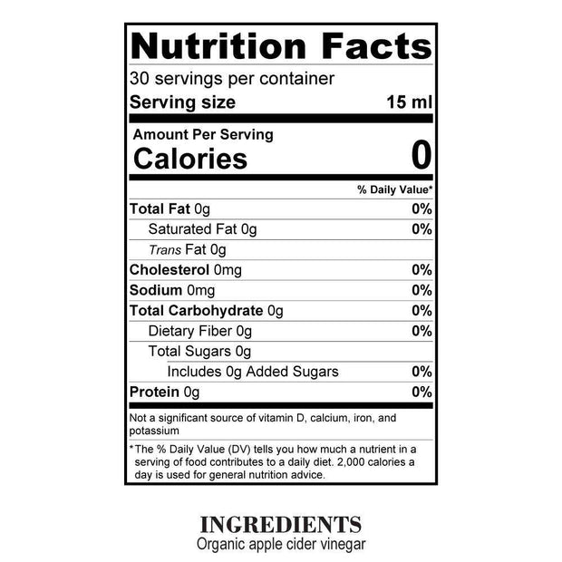 Nutrition Facts Organic Apple Cider Vinegar
