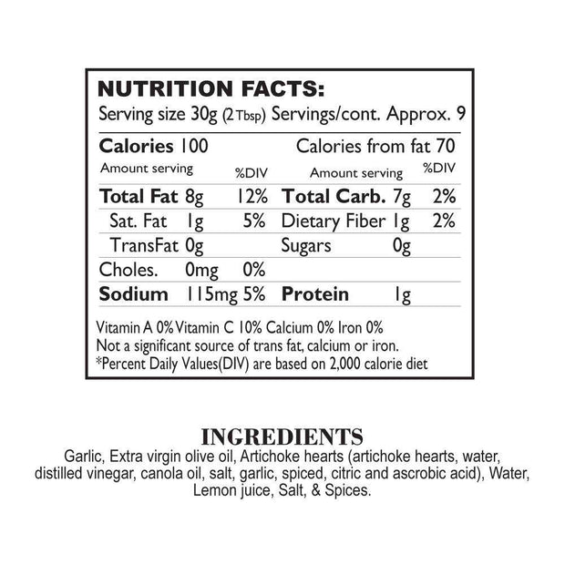 Nutrition Facts Artichoke & Roasted Garlic Tapenade