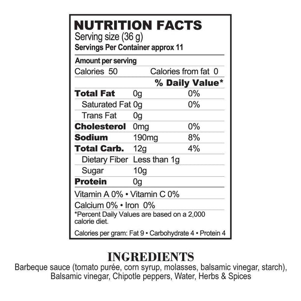 Nutrition Facts Chipotle Balsamic BBQ Sauce