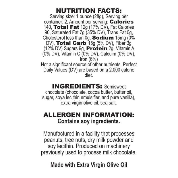 Nutrition Facts Olive Oil Dark Chocolate Bar