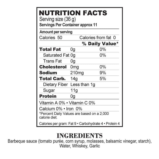 Nutrition Facts Drunken Garlic BBQ Sauce