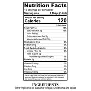 Nutrition Facts Gourmet Dipping Olive Oil