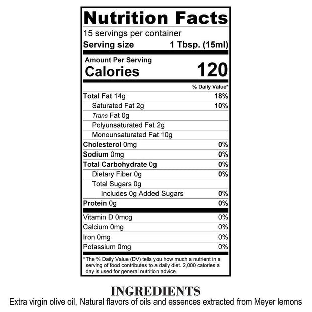 Nutrition Facts Meyer Lemon Olive Oil