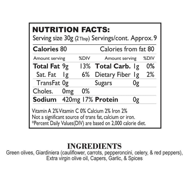 Nutrition Facts Muffuletta Tapenade