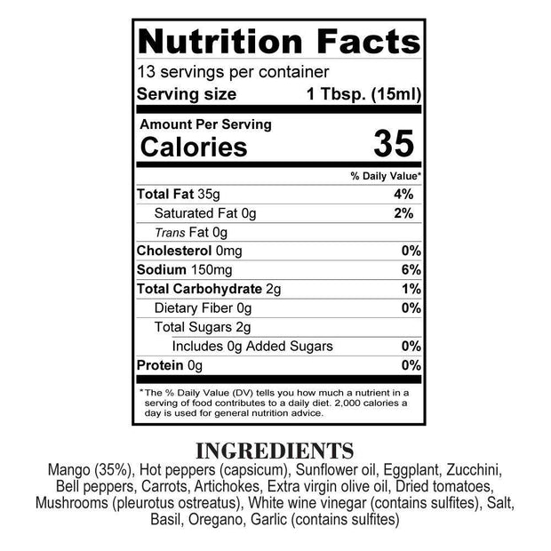 Nutrition Facts Mango Orto Boom Hot Sauce