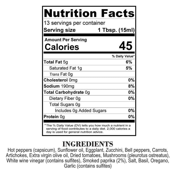 Nutrition Facts Smokey Orto Boom Hot Sauce