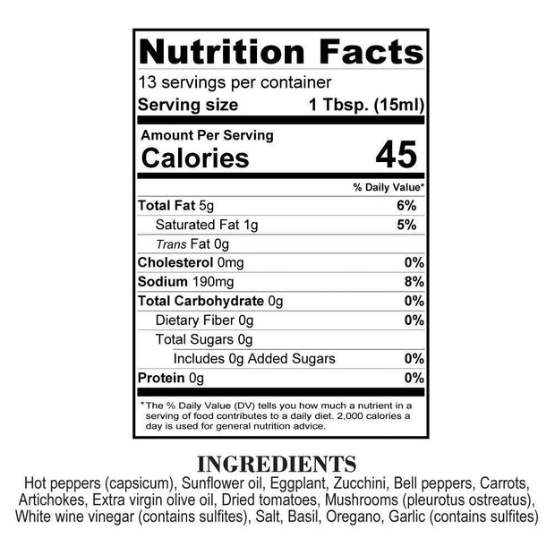 Nutrition Facts Original Orto Boom Hot Sauce