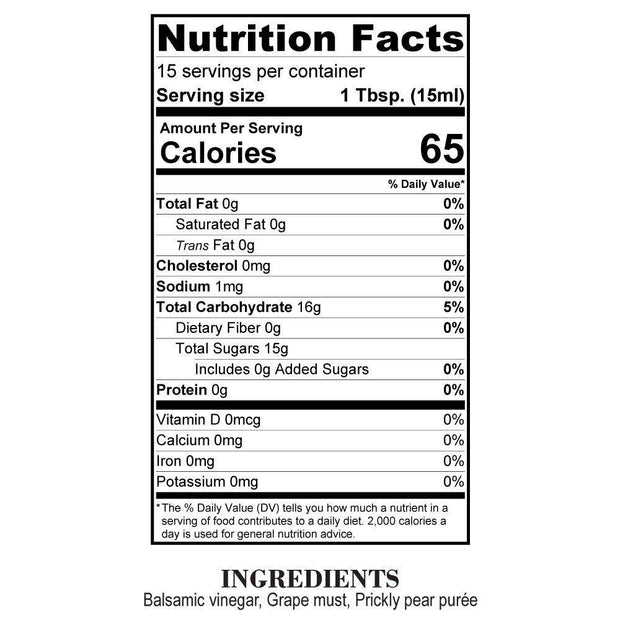 Nutrition Facts Prickly Pear Balsamic Reduction