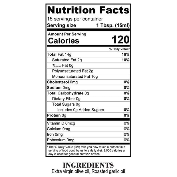 Nutrition Facts Roasted Garlic Olive Oil