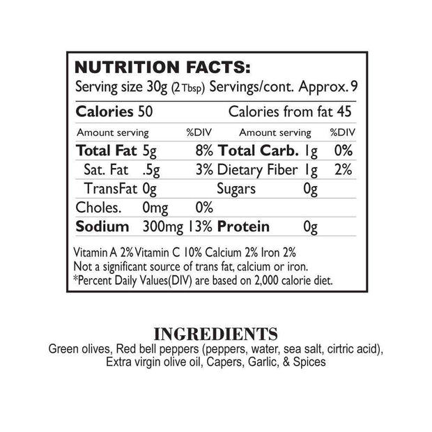 Nutrition Facts Sweet Red Pepper Olive Tapenade