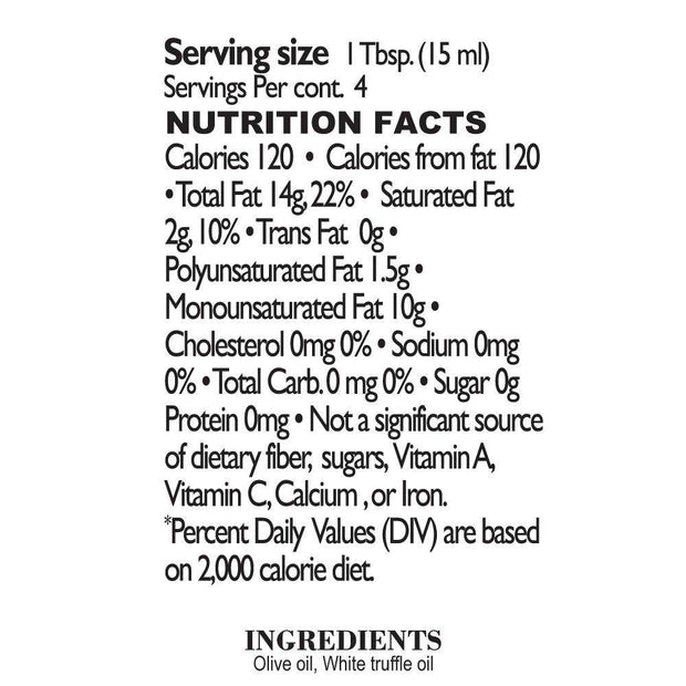 Nutrition Facts White Truffle Oil