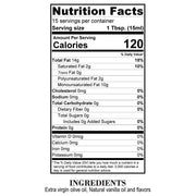 Nutrition Facts Vanilla Bean Olive Oil