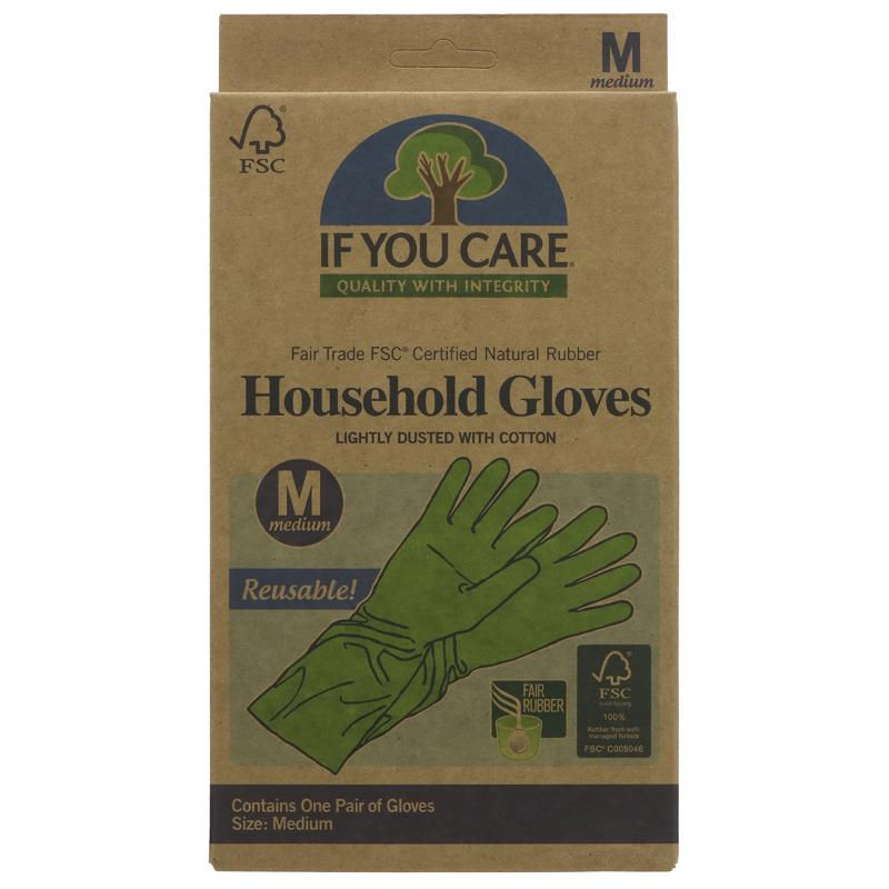 If You Care - Fair Rubber Latex Household Gloves - Medium 1 pair