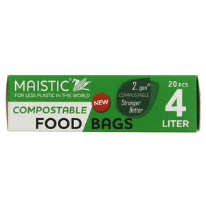 Maistic Food and Freezer Bags - Compostable - 20 Bags 4Ltr