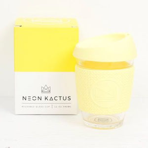 Reusable Glass Cup - Sun is Shining - Yellow- 12oz/340ml