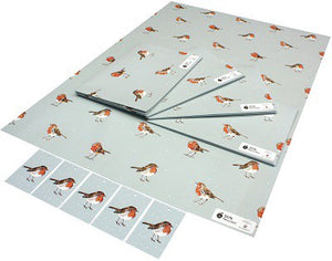 Recycled Wrapping Paper - Christmas Winter Robins