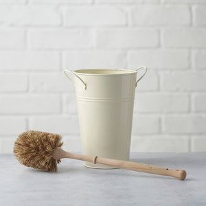 Toilet Brush Dark Bristles (Smaller Brush) with Holder - Cream or Silver