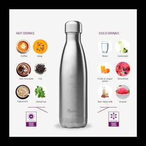 Insulated Stainless Steel Bottle - Brushed Steel - 260ml - Kids