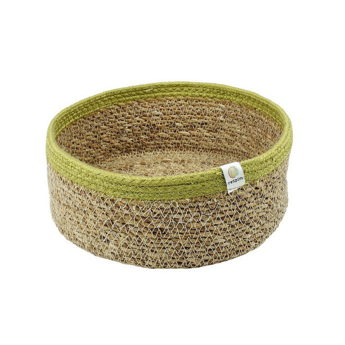 Shallow Seagrass and Jute Basket - Medium - Natural/Green
