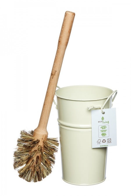 Toilet Brush Dark Bristles with Holder - Cream or Silver
