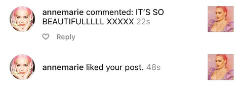 A screenshot of Anne-Marie's comment 'It's so beautiful' on Vellva's jewellery