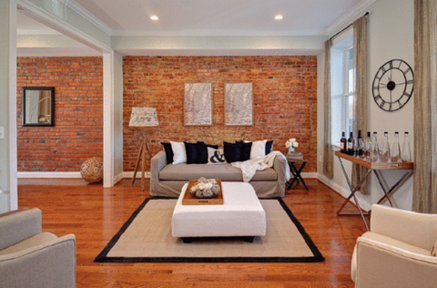 Interior feature wall with brick tiles