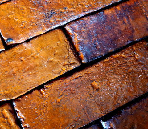 Rusted Orange Glazed Brick Tile