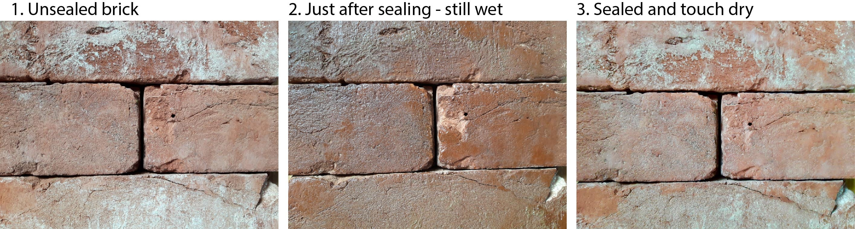 Unsealed and sealed brick tiles