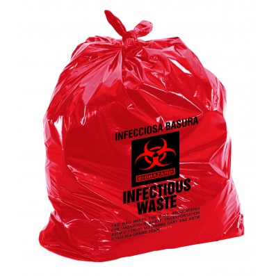 Biohazard Waste Bags - Disposable Infectious Safety Bag, 15 Gal Capacity