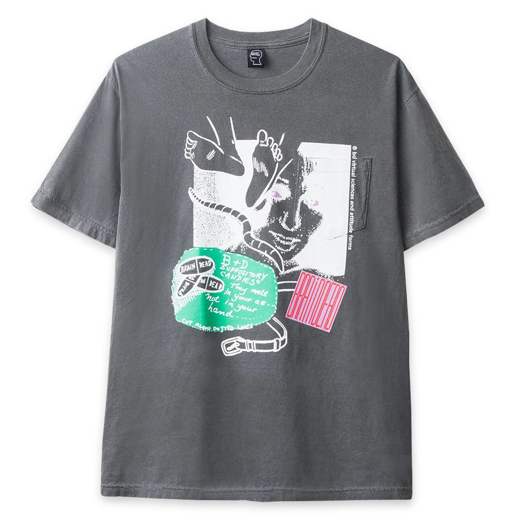 BRAIN DEAD – MEDICATION POCKET TEE (CHARCOAL)