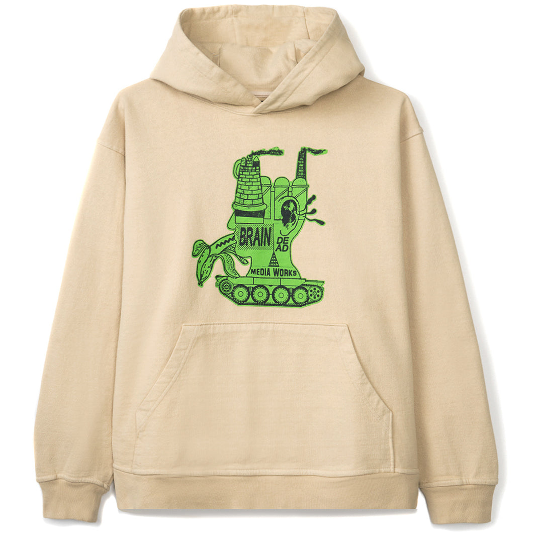 BRAIN DEAD – MEDIA WORKS HOODIE (NATURAL/GREEN)