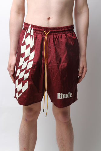 RHUDE – WARM UP SHORT (BROWN/MAROON)